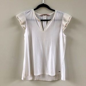 Tommy Hilfiger White Top, Pleated Cap Sleeves